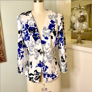 Tahari Abstract Print One Button Blazer Jacket